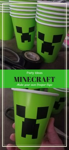 Affordable Minecraft Party and Snack Ideas including how to make your own Creeper Cups (and where to get free printables) « DustinNikki Mommy of Three fernsehabend geburtstag herzhaft opskrifter zum wein Mobs Minecraft, Craft Minecraft, Diy Minecraft Birthday Party, Minecraft Party Decorations, Skins Minecraft, 6th Birthday Parties, Diy Birthday, Birthday Party Decorations, Minecraft Ideas