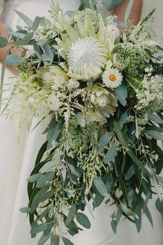 native wedding bouuet of king protea and eucalyptus