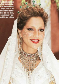 Princess Lalla Soukaina of Morocco wearing an Emerald and Diamond Tiara for her wedding in 2014