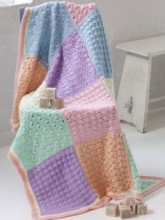 Sampler Squares Baby Blanket   Yarn   Free Knitting Patterns   Crochet Patterns   Yarnspirations