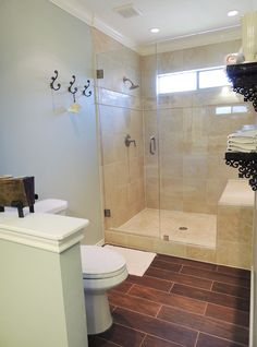 Light and airy bathroom.  Wall color: Behr Pewter Tray
