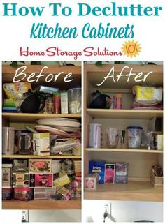 How to declutter kitchen cabinets, 15 minutes at a time, with step by step instructions to keep you from getting overwhelmed or making a huge mess while you do it. {part of the #Declutter365 missions on Home Storage Solutions 101}