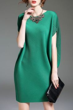 Eveda.cc Green Batwing Sleeve Mini Shift Dress | Mini Dresses at DEZZAL Click on picture to purchase!