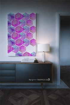 This Hexagon Watercolor Printable Art in vibrant pink and purple is gorgeous and so affordable! Looks great in both horizontal and vertical frames. Download it and print it at home or at a print shop of your choosing.