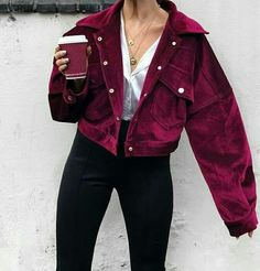 Corduroy single breasted autumn jacket Women casual pocket winter outerwear 2018 High street purple jacket coats femme Purple S purplejacket Winter Jackets Women, Fall Jackets, Coats For Women, Coats And Jackets, Long Jackets For Women, Purple Outfits, Trendy Outfits, Fashion Outfits, Fresh Outfits