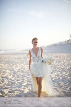 Running on the beach in Long Island was the perfect way to celebrate their vows. Running On The Beach, Dennis Basso, Long Beach Island, Philadelphia Wedding, Wedding Portraits, I Dress, Vows, Big Day