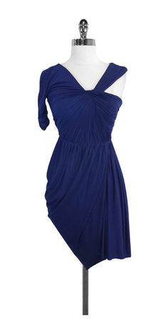 BCBG Blue Gathered One Shoulder Dress