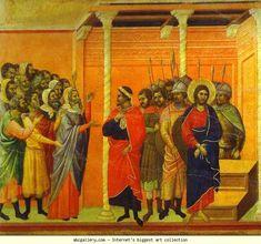 Duccio di Buoninsegna. Maestà (back, central panel) Jesus Accused by the Pharisees.
