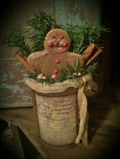 Primitive Grubby Gingerbread Man Recipe Tin Can Gathering Arrangement Christmas #NaivePrimitive