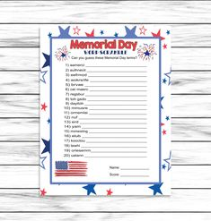 Memorial Day Word Scramble, Party Game, Word Game, For Adults Kids, Memorial Day Decor Favors, Printable Games, Instant Download Fun Party Games, Adult Party Games, Bachelorette Party Games, Adult Games, Scramble Game, Zoom Call, Word Games, Activity Days, Party Guests