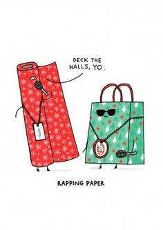 Rapping Paper | Funny Christmas Card A Funny Christmas card for any fan of rap and puns. Great for friend or family member who likes to freestyle.