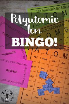 Polyatomic Ion Chemistry Bingo Atoms Game  Fun Learning