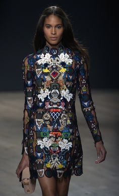 A beautiful update on @marykatrantzou's signature prints at #LFW, with collaged badging work instead. It works.