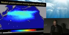 Radiation particles moving across the Pacific Ocean.