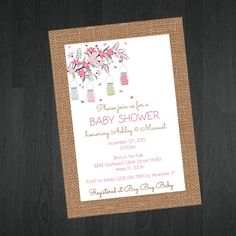 Shabby Chic Baby Shower Invitation with Lantern and butterflies / Garden Baby Shower Invitation by MemorableImprints