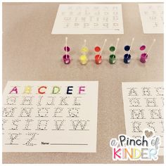 A Pinch of Kinder: Fine Motor Fun: Alphabet & Number Formation Practice with Q-Tips and Paint