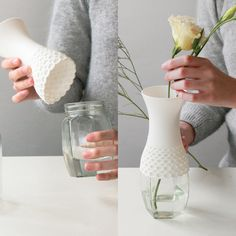 LACE VASE A soft vase to reuse plastic bottles and glass containers in a new way. The neck shape can fit variable sized containers.