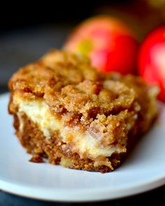 A moist apple coffee cake layered with luscious cream cheese and a crumbly streusel! Note coffee cake here refers to a cake to have with coffee. Baked Apple Dessert, Apple Dessert Recipes, Apple Recipes, Just Desserts, Delicious Desserts, Cake Recipes, Yummy Food, Food Cakes, Cupcake Cakes