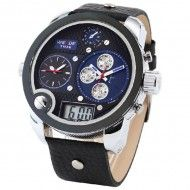 Weide Stylish LED Watch with Three Japan Movt Indicate Date Leather Watchband