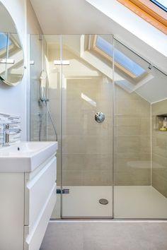 Dunmore Road - Granit Loft bathroom with neutral tones. Shower under sloped ceiling. Dunmore Road - Granit Loft bathroom with neutral tones. Shower under sloped ceiling. Natural light floods the space. Attic Shower, Small Attic Bathroom, Upstairs Bathrooms, Shower Rooms, Downstairs Bathroom, Master Bathroom, Loft Ensuite, Loft Bathroom, Modern Bathroom