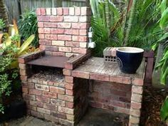 brick built in bbq in my backyard wood powered obviously