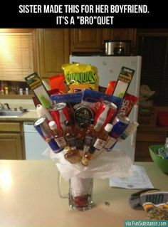 """""""Bro""""quet... I want to make this for Chris, minus the alcohol and dip. I would replace them with Snickers bc he loves them"""