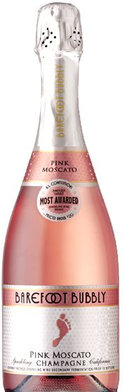 Pink Moscato champagne from Barefoot Bubbly. Light and fun and only $11!