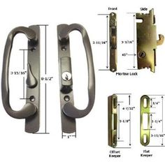"""STB Sliding Glass Patio Door Handle Kit with Mortise Lock and Keeper, Bronze, Keyed by Gordon Glass. $61.85. Sliding Glass Patio Door Handle Kit with Handle Set, Mortise Lock, and Keeper Sliding Glass Patio Door Handle Set Commonly used on Sash Controls and other manufacturer's doors Non-handed; Handle can be reversed to work on right or left handed doors. The latch lever is located off-center; position B Handle Set:Color: Bronze. Center-to-Center Holes: 3-15/16"""". Overall Heig..."""
