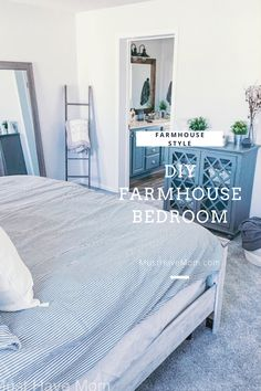 Modern farmhouse bedroom makeover with farmhouse style bedroom decor ideas Farmhouse Style Bedrooms, Farmhouse Bedroom Decor, Farmhouse Style Decorating, Master Bedroom Makeover, White Pillows, Bed Furniture, Bedding Sets, Decor Ideas, Mom