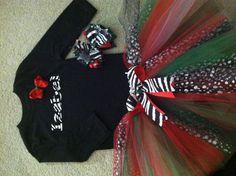 Zebra Xmas tutu 2T, made by Veronica Arreola. $32.00 3 pc set