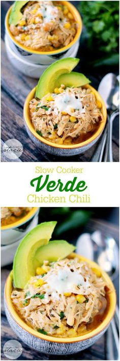 Slow Cooker Verde Chicken Chili - An easy white chili recipe with a spicy kick. Make it for dinner and I guarantee your mouth will water! (Whole 30 Recipes Taco) Healthy Slow Cooker, Slow Cooker Recipes, Cooking Recipes, Healthy Recipes, Fast Recipes, Healthy Crockpot Chicken Recipes, Healthy Meals, Vegetarian Recipes, Healthy Chili