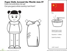 Worksheets: Chinese Paper Doll