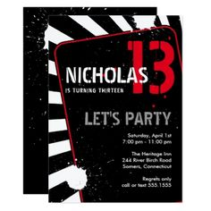 #trendy - #Teen Boy Party Invitation   Black White and Red