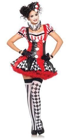 Harlequin Clown... Branded Leg Avenue Halloween Sexy Harlequin Clown Adult Costume