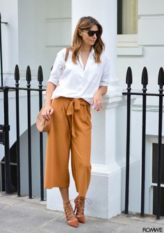 EJSTYLE wears tan culottes, white shirt, forever 21 chloe drew style bag, flat top sunglasses, missguided rust lace up heels Pants Outfits, Mode Outfits, Casual Outfits, Fashion Outfits, Work Fashion, Fashion Looks, Latest Fashion, Fashion Trends, Fashion Sale