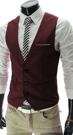 Sophisticated V-Neck Solid Color Slimming Polyester Vest For Men (WINE RED,L) | Sammydress.com