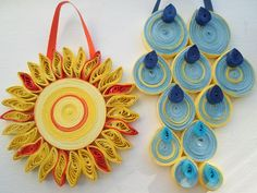 Nursery wall decoration Childrens room wall hanging Quilled yellow sun blue raindrops Kids wall art. $22.00, via Etsy.