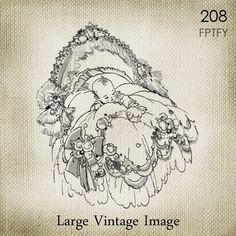 Pretty Vintage Baby unisex LARGE Digital Vintage Image by ptfy
