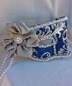 Royal Blue and Silver Brocade Masquerade Ball Half Mask on Handmade Artists' Shop