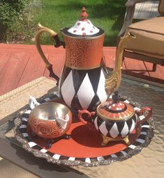 Custom Made Custom Hand Painted Silver Tea Set Teapot Whimsical Art