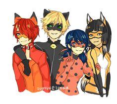 (Miraculous: Tales of Ladybug and Cat Noir) Nathanaël, Cat Noir, Ladybug and Volpina