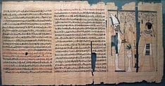Arts appliqués : Écriture hiératique du livre des morts du roi Pinedjem II vers -990-969. Le livre des morts est un livre avec des formules funéraires.