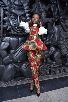 Peplum blouse with puff sleeves and pencil trouser. check out IG page Peplum Blouse, Puff Sleeves, African Wear, Trousers, Pencil, Check, How To Wear, African Fashion, Pants