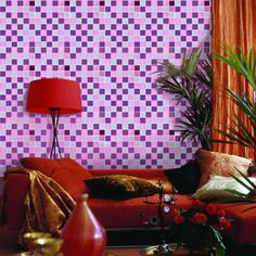 purple glass mosaic tile backsplash