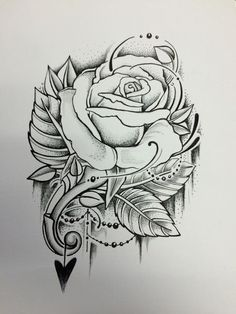 Rose with pointalism and beads Rose Drawing Tattoo, Flower Art Drawing, Tattoo Design Drawings, Art Drawings Sketches Simple, Tattoo Sleeve Designs, Pencil Art Drawings, Tattoo Sketches, Chicano Art Tattoos, Body Art Tattoos