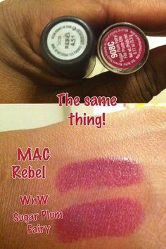Dupe:  MAC Rebel vs Wet n Wild Sugar Plum Fairy