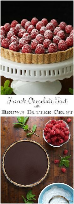 This tart is super simple, decadent, authentically French and probably the best chocolate dessert youll ever meet! French Chocolate Tart with Brown Butter Crust - the real deal! It's super simple, super decadent, authentically French and probably the. Mini Desserts, Best Chocolate Desserts, French Desserts, Easy Desserts, Decadent Chocolate, Chocolate Tarts, French Recipes, Cake Chocolate, Tart Recipes