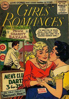 Girls Romances 38 DC Comics by LifeofComics Fortune Teller Secret Love Young Romance True Heart Throbs Diary Style Fashion Comics Vintage Comics Love, Comics Girls, Dc Comics, Comic Book Girl, Comic Books, Comic Art, Girls In Love, Guys And Girls, Romance Comics