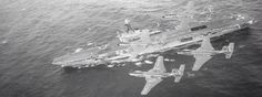 HMCS Bonaventure, with a pair of Voodoos Royal Canadian Navy, Royal Navy, Navy Aircraft Carrier, Navy Ships, Water Crafts, Cold War, Boats, The Past, Core