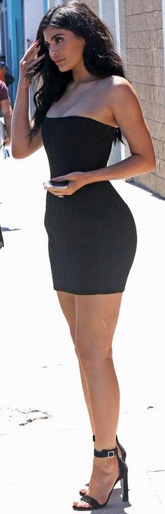 Who made Kylie Jenner's black strapless dress and velvet sandals?